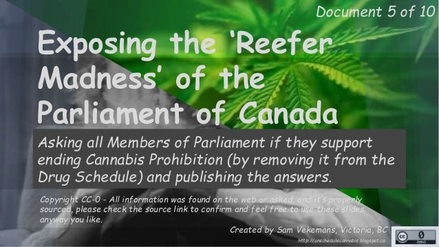 Document 5 of 10  Exposing the 'Reefer  Madness' of the  Parliament of Canada  Asking all Members of Parliament if they su...