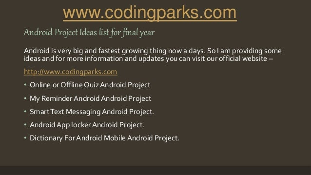 41 Latest, top and best android project ideas for final year