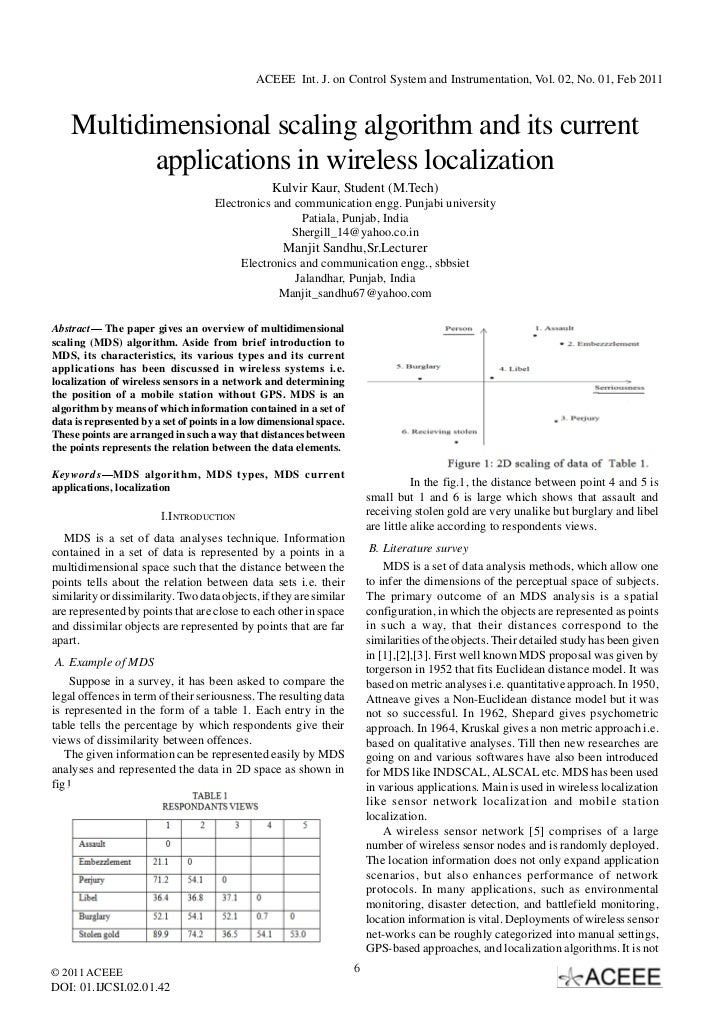 ACEEE Int. J. on Control System and Instrumentation, Vol. 02, No. 01, Feb 2011    Multidimensional scaling algorithm and i...