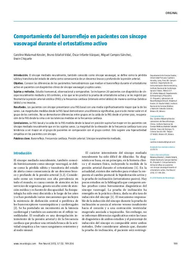 ORIGINAL  Comportamiento del barorreflejo en pacientes con síncope vasovagal durante el ortostatismo activo Caroline Malam...