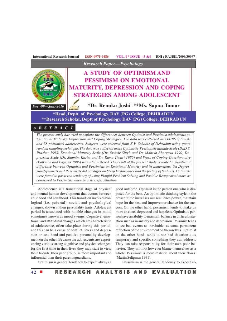 International Research Journal      ISSN-0975-3486        VOL. I * ISSUE—3 &4          RNI : RAJBIL/2009/30097            ...