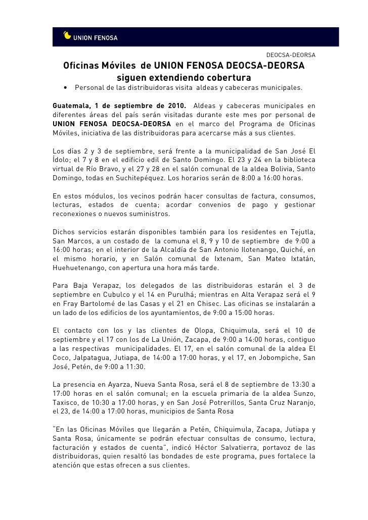Oficinas m viles de uni n fenosa guatemala siguen for Oficina union fenosa