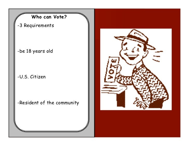 Who can Vote?-3 Requirements-be 18 years old-U.S. Citizen-Resident of the community