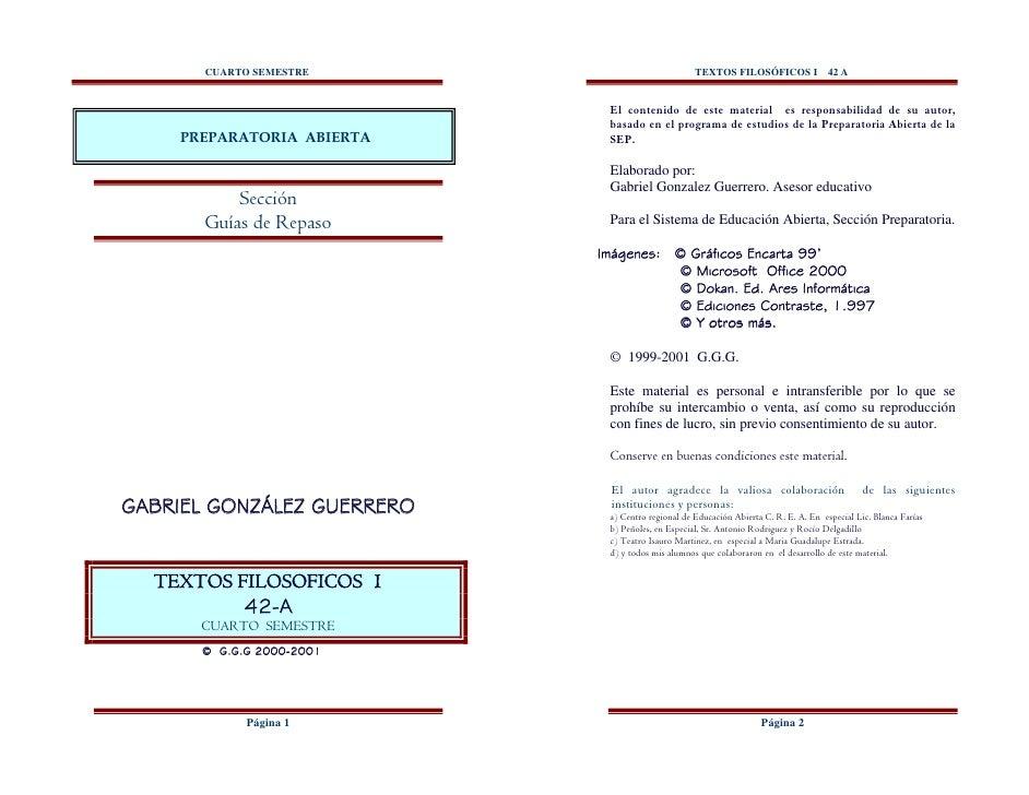 CUARTO SEMESTRE                             TEXTOS FILOSÓFICOS I               42 A                             El conteni...