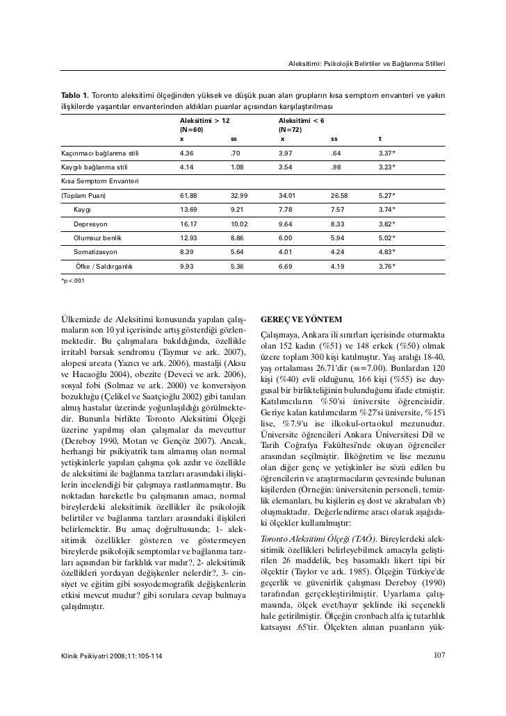 Aleksitimi: Psikolojik Belirtiler ve Baðlanma StilleriTablo 1. Toronto aleksitimi ölçeðinden yüksek ve düþük puan alan gru...