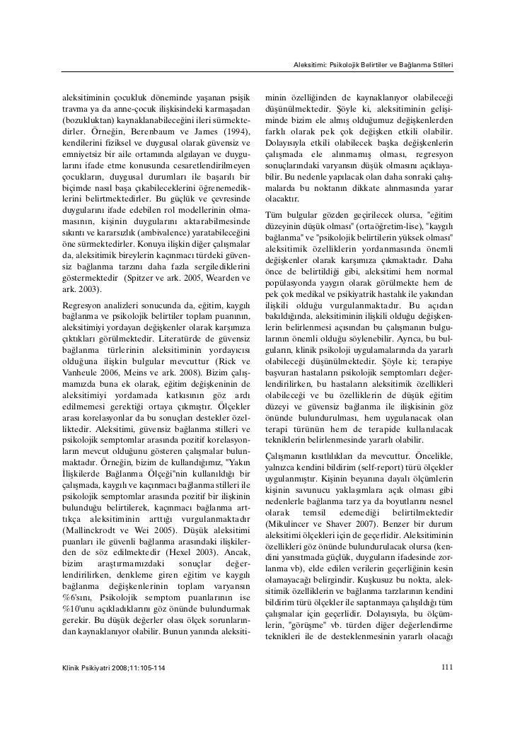 Aleksitimi: Psikolojik Belirtiler ve Baðlanma Stillerialeksitiminin çocukluk döneminde yaþanan psiþik         minin özelli...