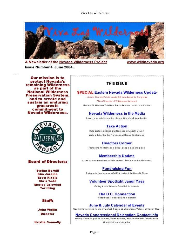 Viva Las WildernessA Newsletter of the Nevada Wilderness Project                               www.wildnevada.orgIssue Num...