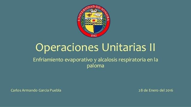 Operaciones Unitarias II Enfriamiento evaporativo y alcalosis respiratoria en la paloma Carlos Armando Garcia Puebla 28 de...