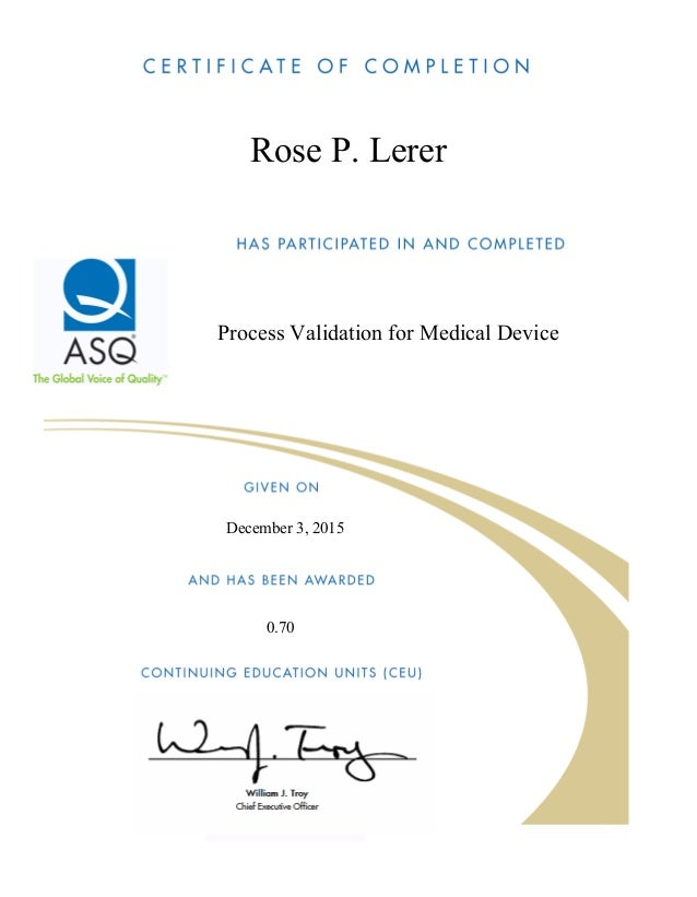 validation asq certificate process course device medical slideshare upcoming