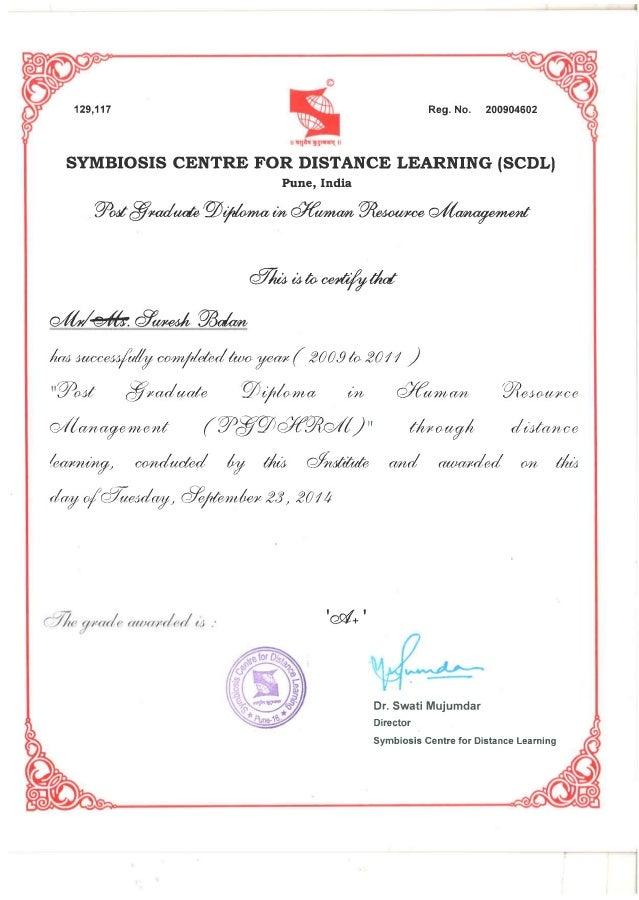 SCDL PGDHRM Certificate