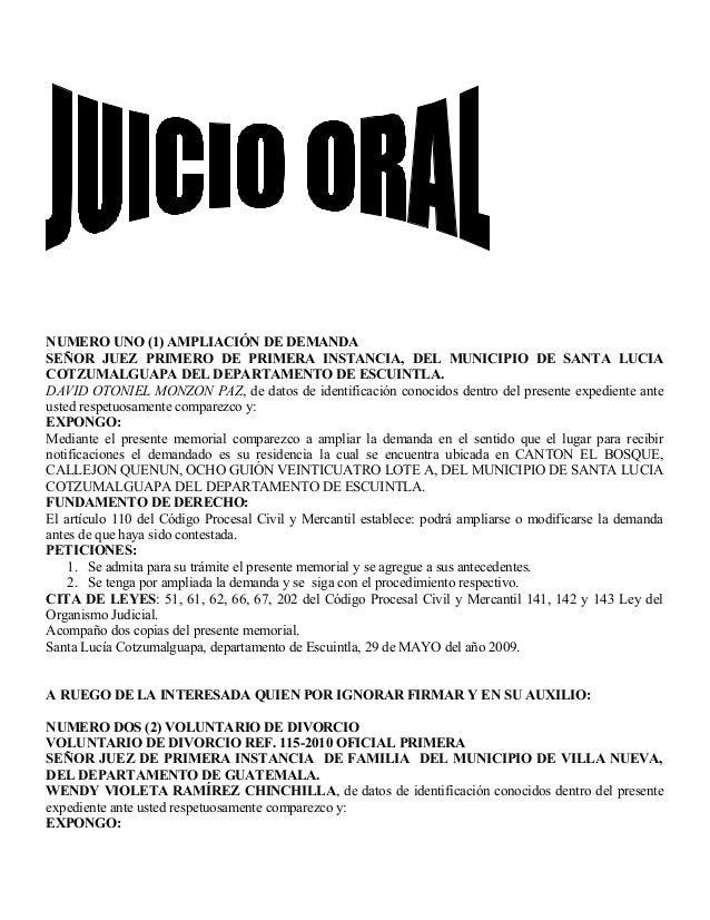 NUMERO UNO (1) AMPLIACIÓN DE DEMANDA SEÑOR JUEZ PRIMERO DE PRIMERA INSTANCIA, DEL MUNICIPIO DE SANTA LUCIA COTZUMALGUAPA D...