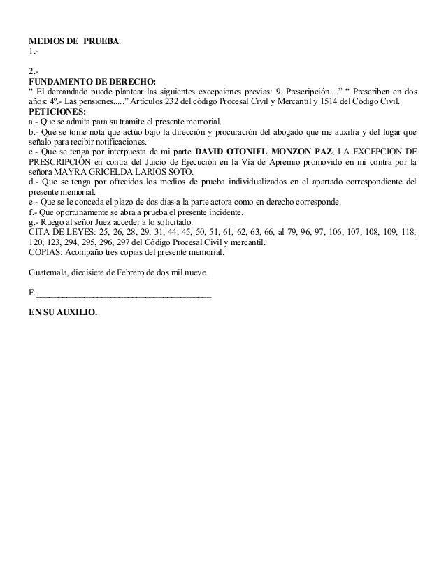 """MEDIOS DE PRUEBA. 1.- 2.- FUNDAMENTO DE DERECHO: """" El demandado puede plantear las siguientes excepciones previas: 9. Pres..."""