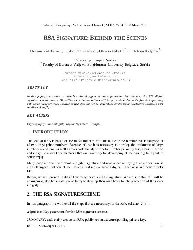 Advanced Computing: An International Journal ( ACIJ ), Vol.4, No.2, March 2013              RSA SIGNATURE: BEHIND THE SCEN...