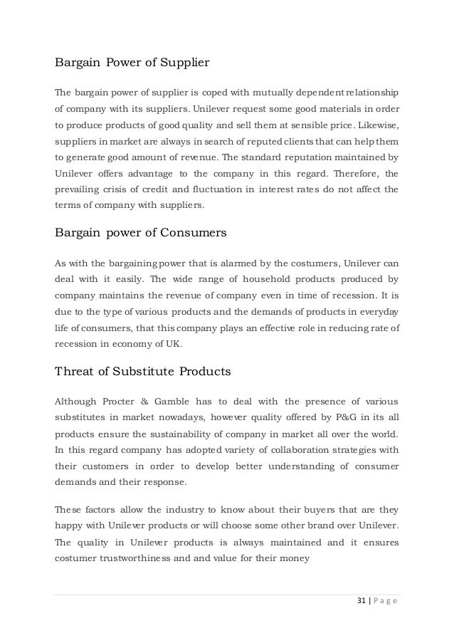 bargaining power supplier unilever Supplier is aware, will be declared to unilever to allow unilever the opportunity to take appropriate action any ownership or beneficial interest in a supplier's business.