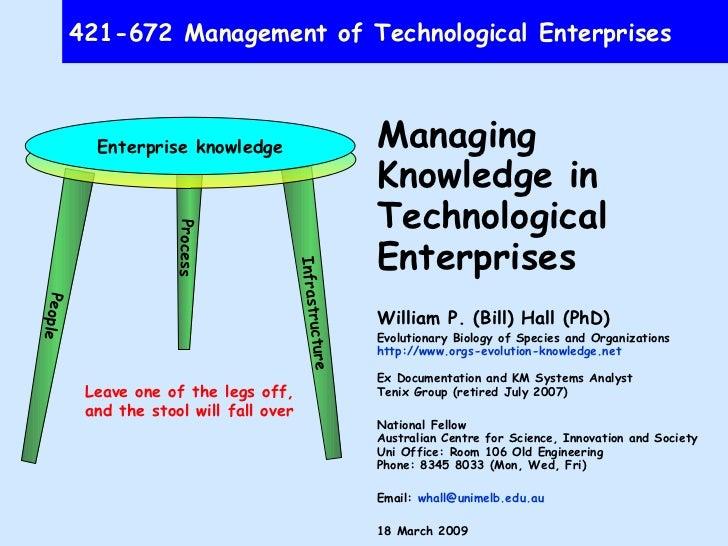 421-672 Management of Technological Enterprises Managing Knowledge in Technological Enterprises William P. (Bill) Hall (Ph...