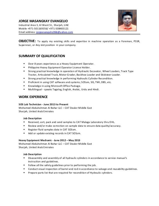 Cv - Heavy Equipment Operator Foreman
