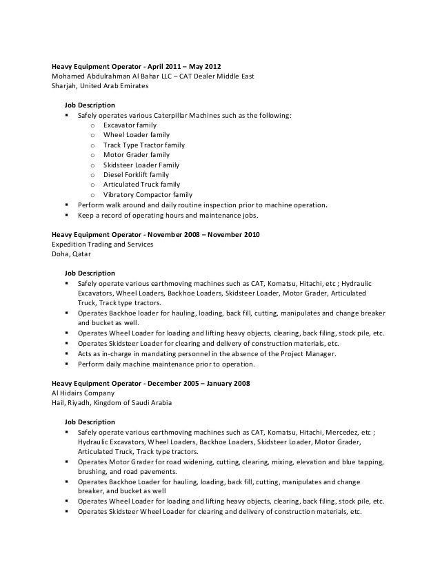 Sample resume heavy equipment operator eczalinf sample resume heavy equipment operator stopboris Choice Image