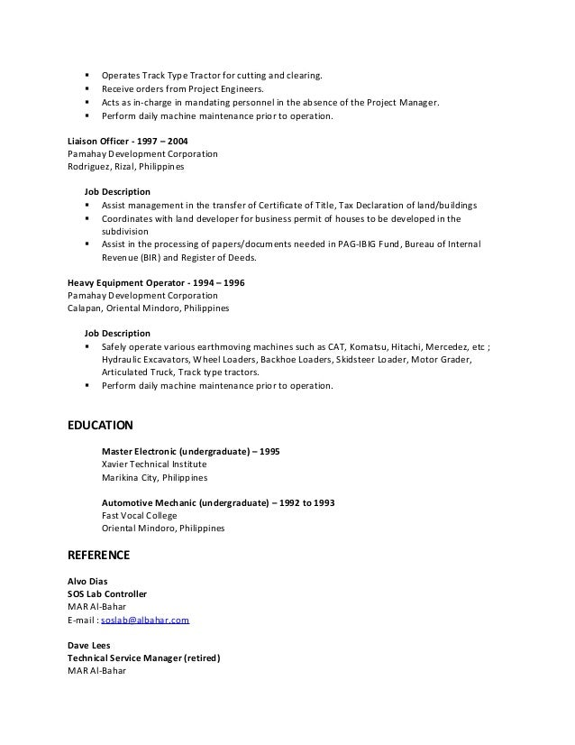 machine operator job description resumes