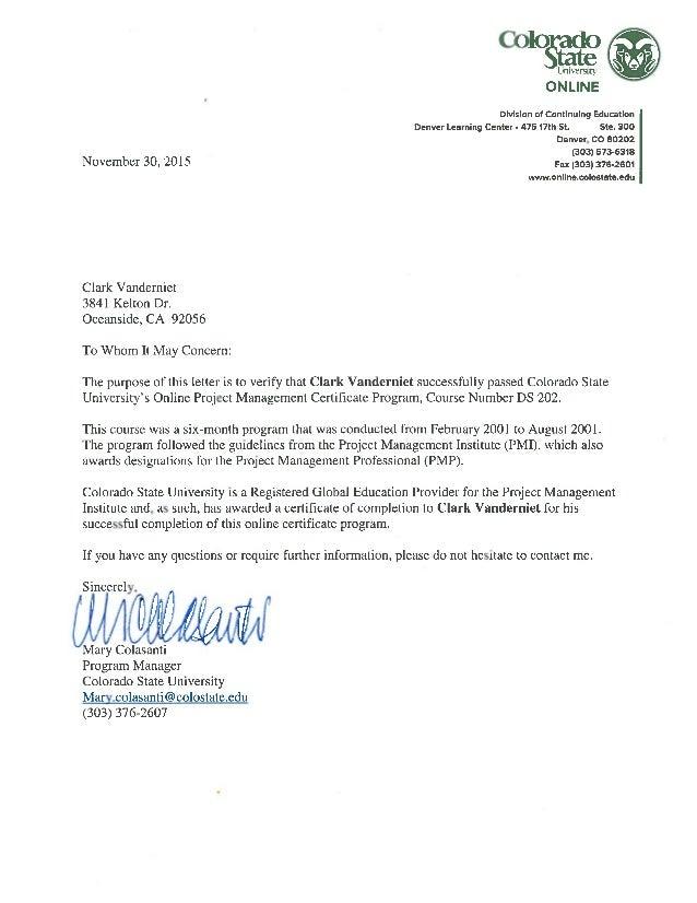 Csu Certificate Of Project Management Ltr 113015