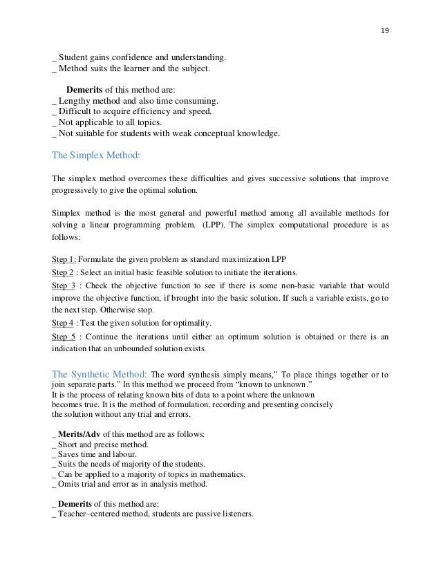 Dissertation on linear programming