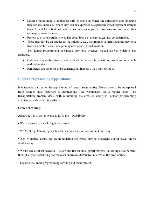 thesis on linear programming 1 a brief introduction to linear programming linear programming is not a programming language like c++, java, or visual basic linear programming can.