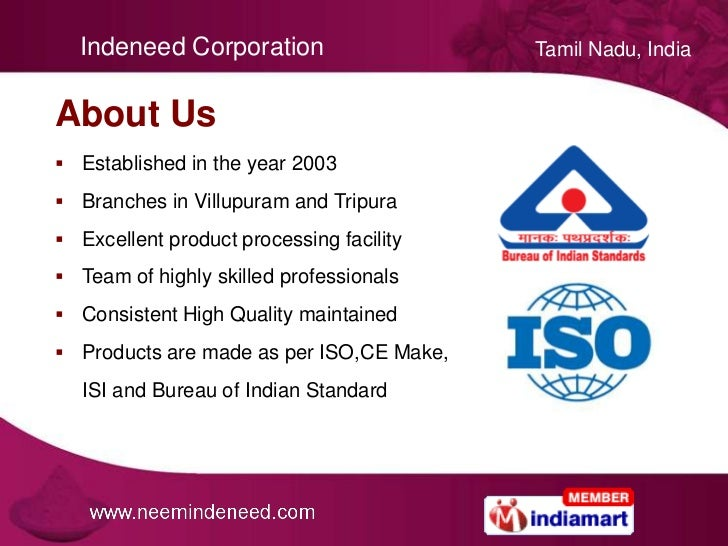 Neem Products & Chemicals by Indeneed Corporation, Coimbatore Slide 2