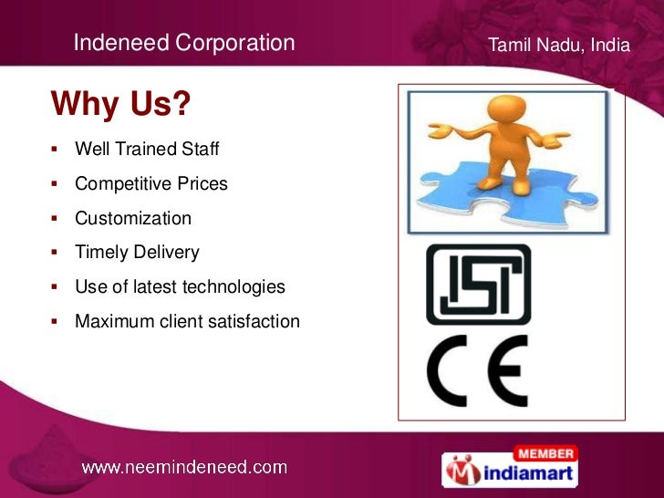 Neem Products & Chemicals by Indeneed Corporation, Coimbatore Slide 3