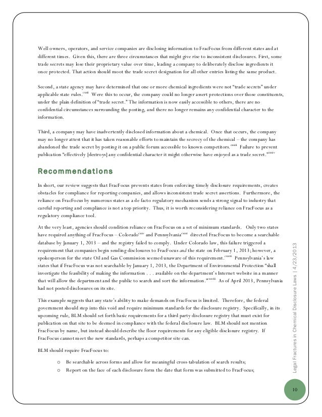 10LegalFracturesinChemicalDisclosureLaws|4/23/2013Well owners, operators, and service companies are disclosing information...