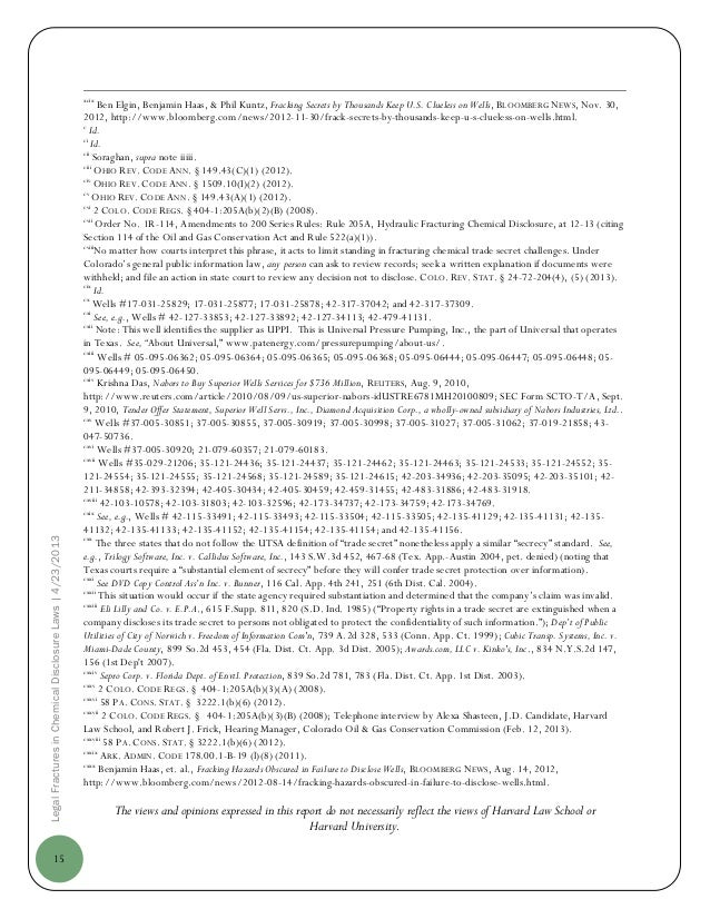 15LegalFracturesinChemicalDisclosureLaws|4/23/2013xcixBen Elgin, Benjamin Haas, & Phil Kuntz, Fracking Secrets by Thousand...