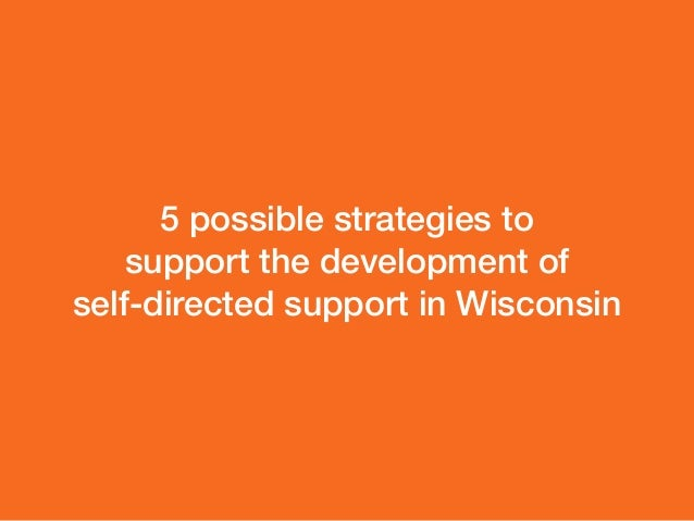 5 possible strategies to  support the development of  self-directed support in Wisconsin