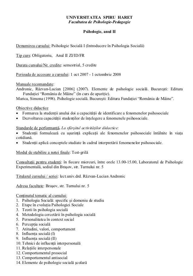 UNIVERSITATEA SPIRU HARET                                     Facultatea de Psihologie-Pedagogie                          ...
