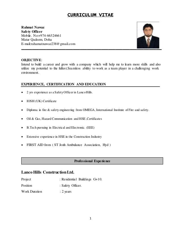 nawaz safety officer cv