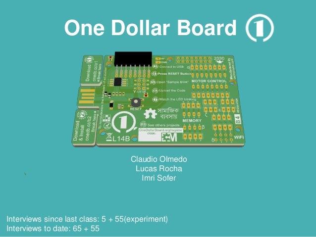 One Dollar Board Claudio Olmedo Lucas Rocha Imri Sofer Interviews since last class: 5 + 55(experiment) Interviews to date:...