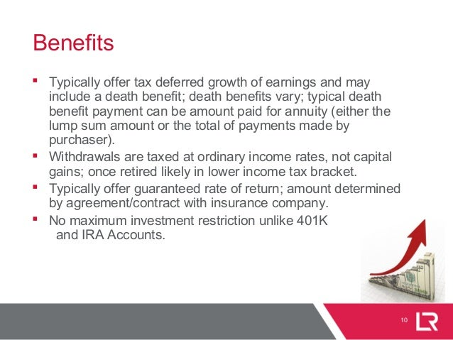 10 Benefits  Typically offer tax deferred growth of earnings and may include a death benefit; death benefits vary; typica...
