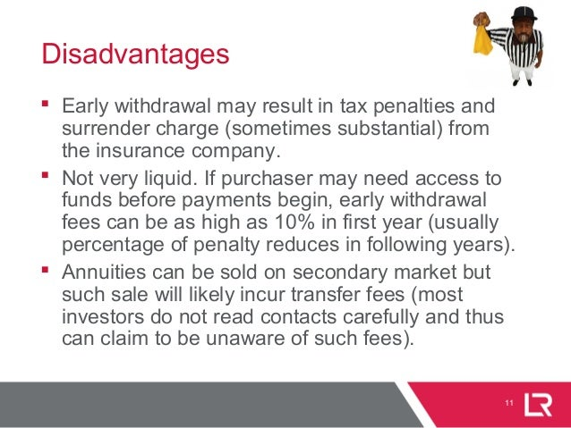 11 Disadvantages  Early withdrawal may result in tax penalties and surrender charge (sometimes substantial) from the insu...