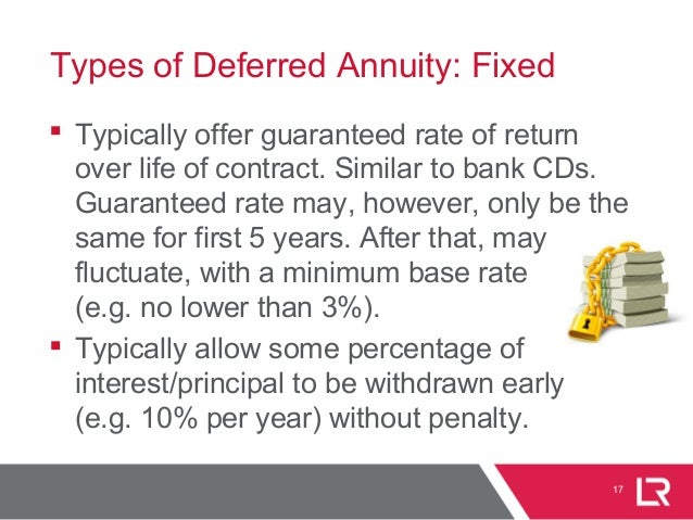 17 Types of Deferred Annuity: Fixed  Typically offer guaranteed rate of return over life of contract. Similar to bank CDs...