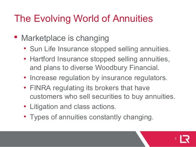 The Evolving World of Annuities  Marketplace is changing • Sun Life Insurance stopped selling annuities. • Hartford Insur...