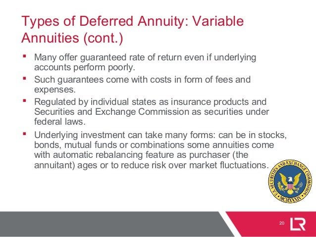 20 Types of Deferred Annuity: Variable Annuities (cont.)  Many offer guaranteed rate of return even if underlying account...