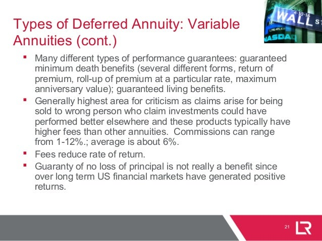 21 Types of Deferred Annuity: Variable Annuities (cont.)  Many different types of performance guarantees: guaranteed mini...