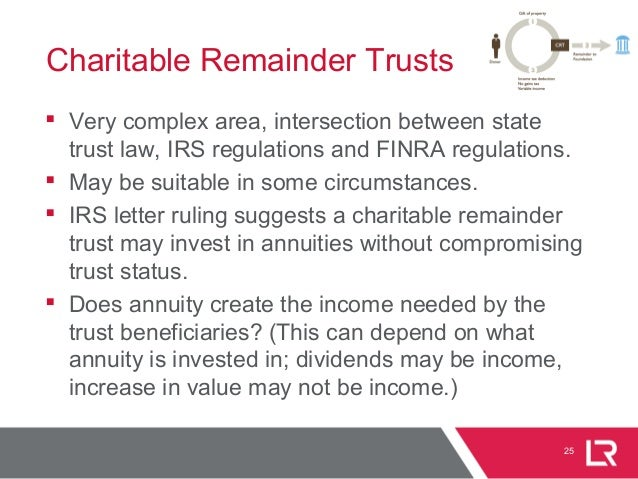 25 Charitable Remainder Trusts  Very complex area, intersection between state trust law, IRS regulations and FINRA regula...