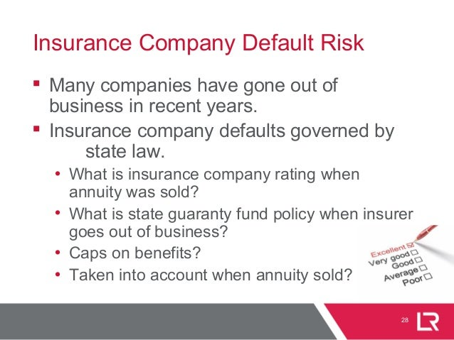 28 Insurance Company Default Risk  Many companies have gone out of business in recent years.  Insurance company defaults...