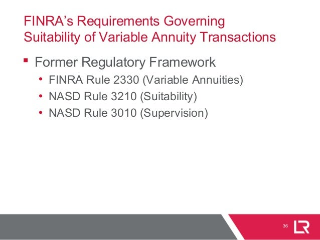 FINRA's Requirements Governing Suitability of Variable Annuity Transactions  Former Regulatory Framework • FINRA Rule 233...
