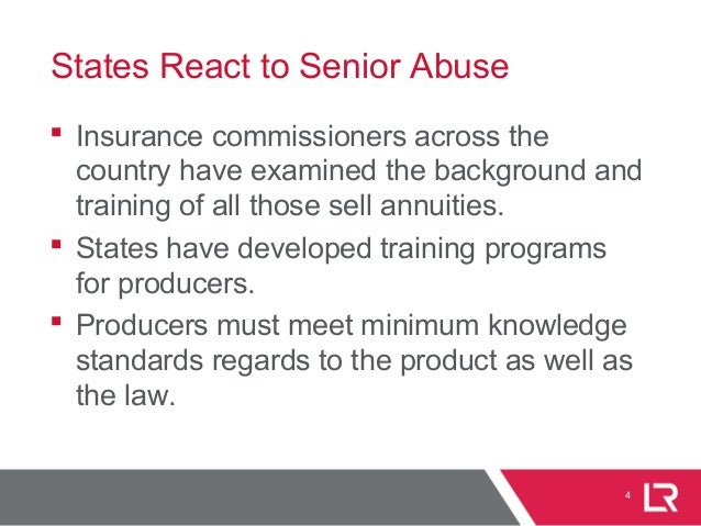 States React to Senior Abuse  Insurance commissioners across the country have examined the background and training of all...