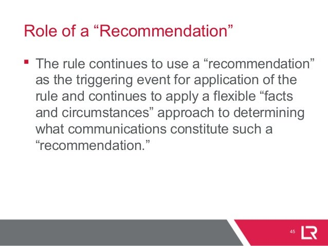 """45 Role of a """"Recommendation""""  The rule continues to use a """"recommendation"""" as the triggering event for application of th..."""