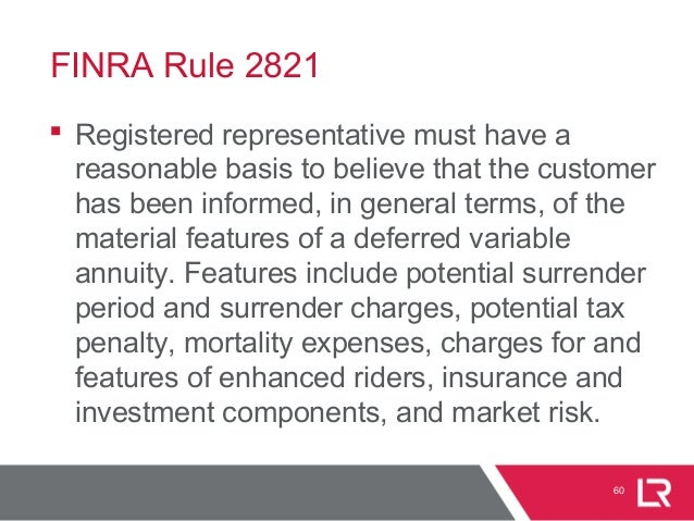 FINRA Rule 2821  Registered representative must have a reasonable basis to believe that the customer has been informed, i...