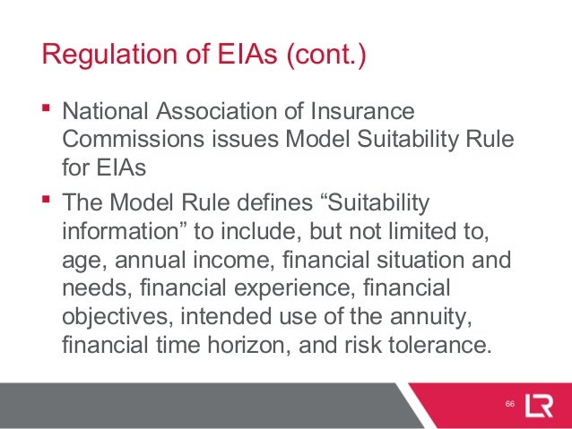 Regulation of EIAs (cont.)  National Association of Insurance Commissions issues Model Suitability Rule for EIAs  The Mo...