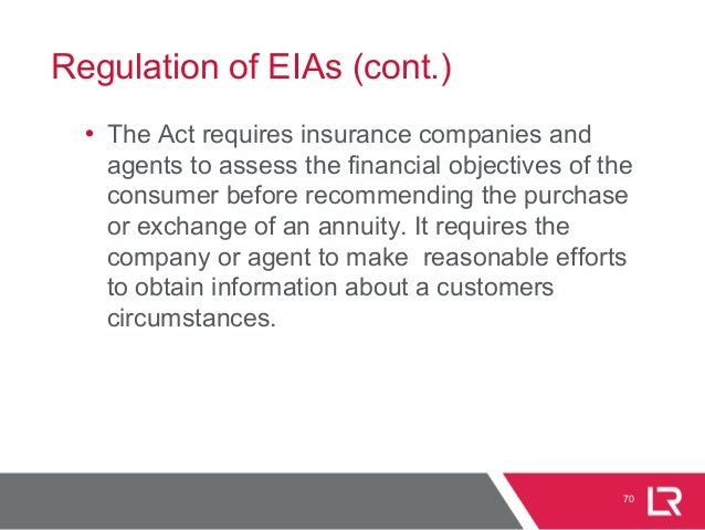 Regulation of EIAs (cont.) • The Act requires insurance companies and agents to assess the financial objectives of the con...