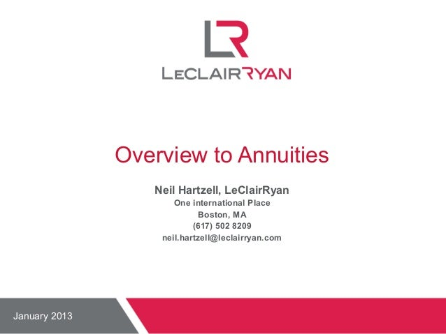 Overview to Annuities Neil Hartzell, LeClairRyan One international Place Boston, MA (617) 502 8209 neil.hartzell@leclairry...