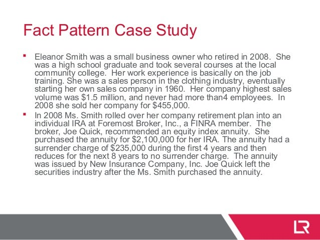 Fact Pattern Case Study  Eleanor Smith was a small business owner who retired in 2008. She was a high school graduate and...