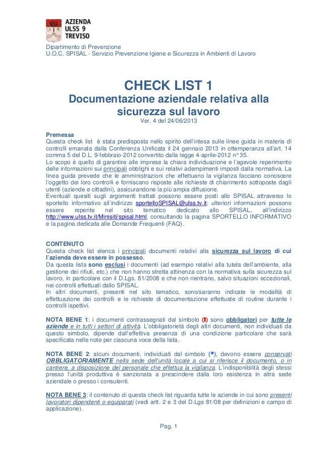 Dipartimento di Prevenzione U.O.C. SPISAL - Servizio Prevenzione Igiene e Sicurezza in Ambienti di Lavoro  CHECK LIST 1 Do...